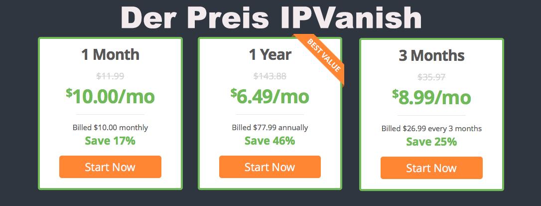IPVanish Kosten