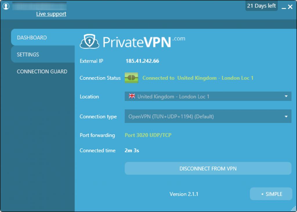 PrivateVPN test