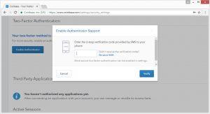 Zwei Faktor Authentifizierung verification