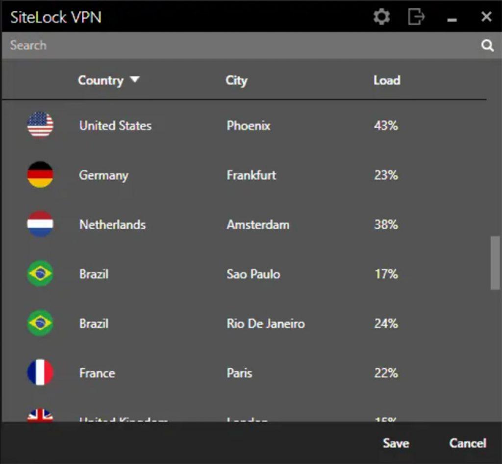 SiteLock VPN server list