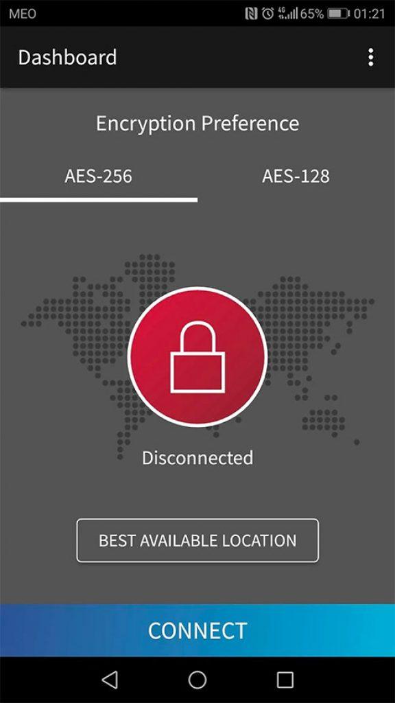 SiteLock VPN aes-256 aes-128